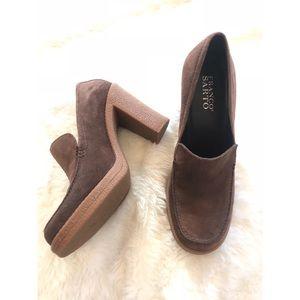 {Franco Sarto} 70's Style Block Heel Loafer Pump